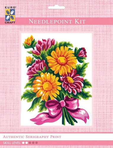 3283K - Eurocraft NEEDLEPOINT KIT 14x18cm Daisy Bouquet