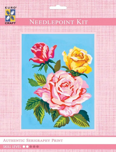 3293K - Eurocraft NEEDLEPOINT KIT 14x18cm Pink and Yellow Roses