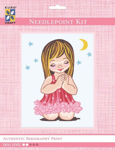 3302K - Eurocraft NEEDLEPOINT KIT 14x18cm Angel Girl Praying with Moon & Stars