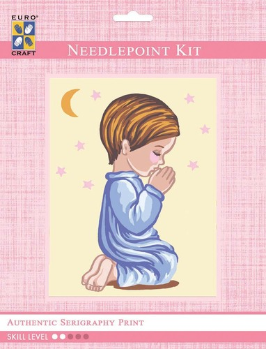 3304K - Eurocraft NEEDLEPOINT KIT 14x18cm Angel Boy Praying Silhouette with Moon & Stars