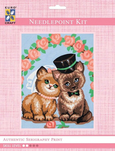 3312K - Eurocraft NEEDLEPOINT KIT 14x18cm Wedding Cats