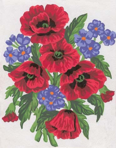 3043 Needlepoint Canvas 14x18cm Poppies