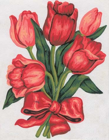 3045 Needlepoint Canvas 14x18cm Tulips