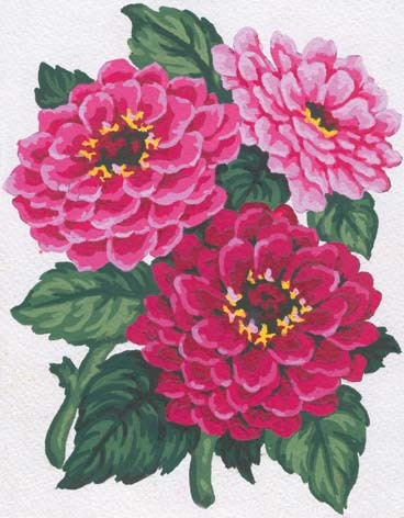 3046 Needlepoint Canvas 14x18cm Zinnias