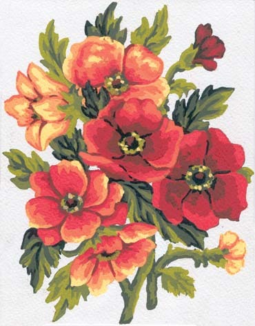 3049 Needlepoint Canvas 14x18cm Anemones
