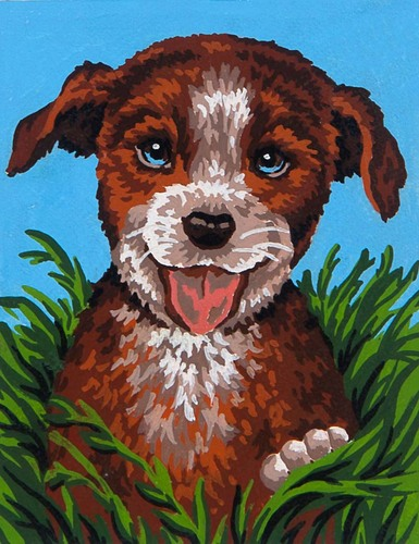 3080 Needlepoint Canvas 14x18cm Happy Pup