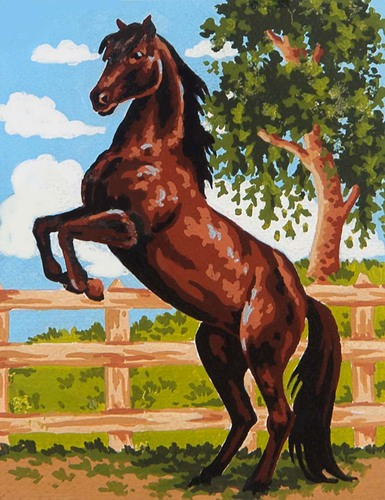 3083 Needlepoint Canvas 14x18cm Black Stallion