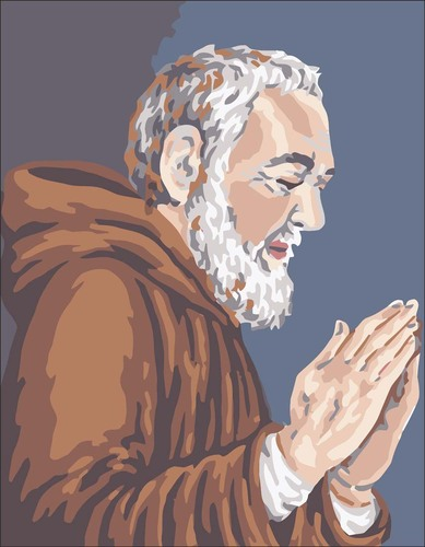3100 Needlepoint Canvas 14x18cm Padre Pio Praying