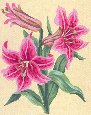 3106 Needlepoint Canvas 14x18cm Pink Lillies