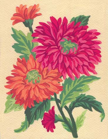 3115 Needlepoint Canvas 14x18cm Orange Daisies