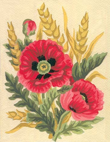 3116 Needlepoint Canvas 14x18cm Poppies and Wheat
