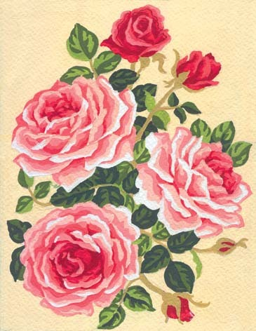 3118 Needlepoint Canvas 14x18cm Roses and Rose Buds