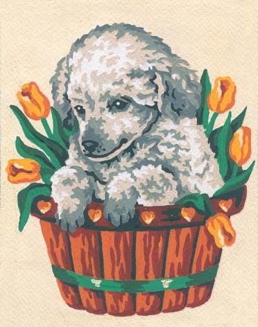 3136 Needlepoint Canvas 14x18cm Puppy in Tulips