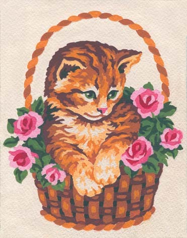 3138 Needlepoint Canvas 14x18cm Kitten in Rose Basket