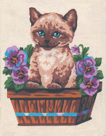 3139 Needlepoint Canvas 14x18cm Kitten in Flower Box