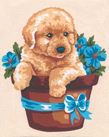 3140 Needlepoint Canvas 14x18cm Puppy in Flower Pot