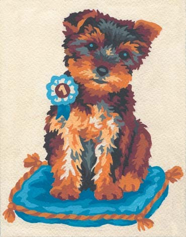 3141 Needlepoint Canvas 14x18cm Prize Winning Terrier