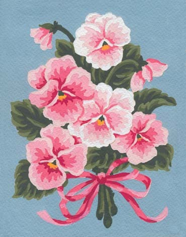 Needlepoint Canvas 14x18cm Pink Floral Bouquet