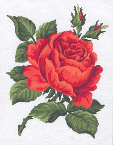 Needlepoint Canvas 14x18cm Red Rose