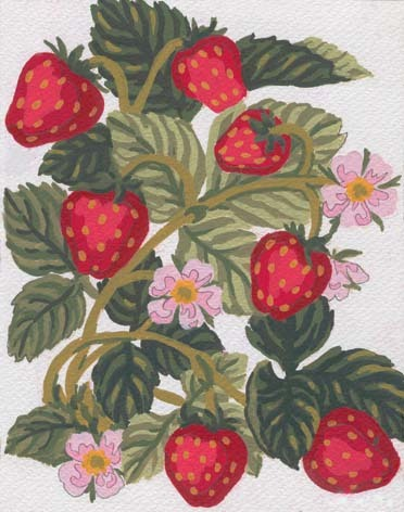 Needlepoint Canvas 14x18cm Strawberries