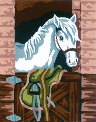 Needlepoint Canvas 14x18cm White Pony in Stable