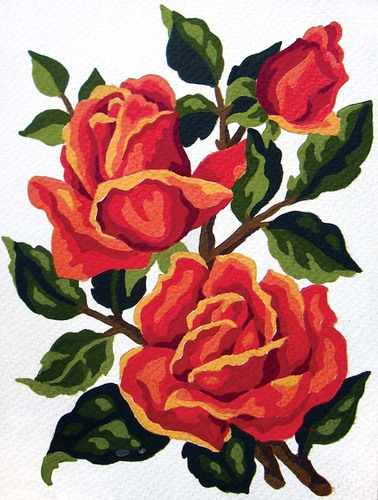 Needlepoint Canvas 14x18cm Orange Roses