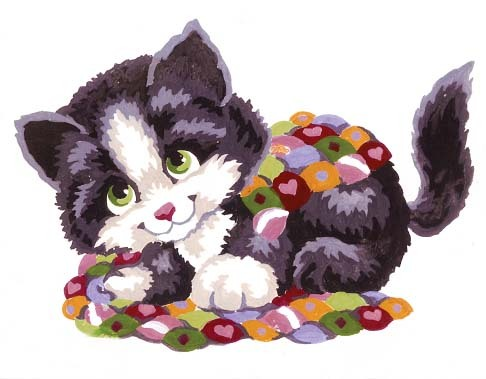 Needlepoint Canvas 14x18cm Patchwork Kitten