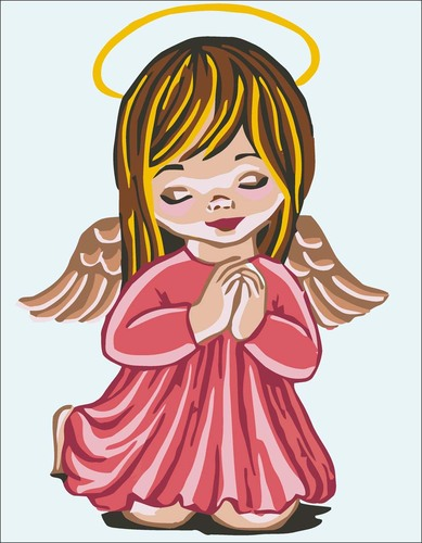 Needlepoint Canvas 14x18cm Angel Girl Praying