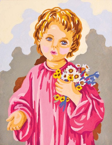Needlepoint Canvas 14x18cm Child with Flowers