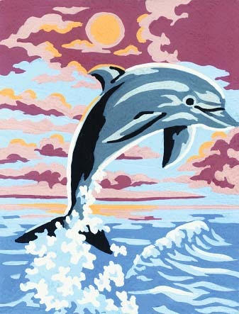 Needlepoint Canvas 14x18cm Leaping Dolphin