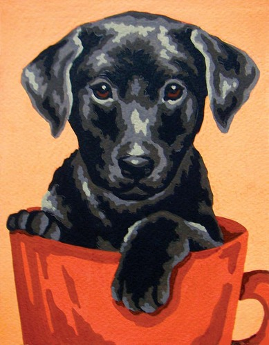 Needlepoint Canvas 14x18cm Black Puppy