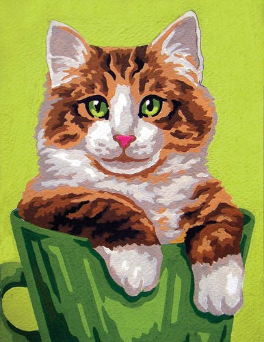 Needlepoint Canvas 14x18cm Ginger and White Cat
