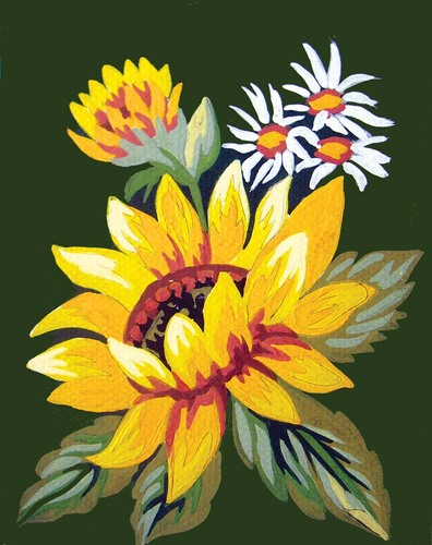 Needlepoint Canvas 14x18cm Sunflower and Daisies