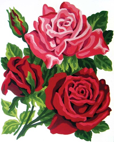 Needlepoint Canvas 14x18cm Trio of Roses