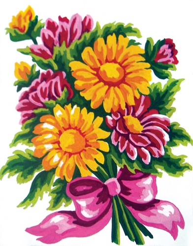 Needlepoint Canvas 14x18cm Daisy Bouquet