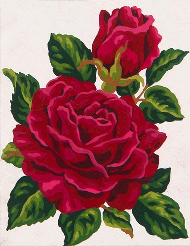 Needlepoint Canvas 14x18cm Red Rose and Rose Bud