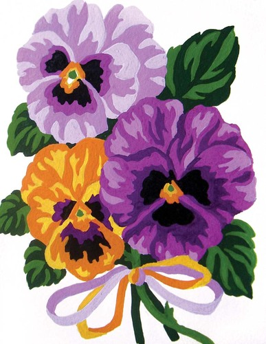 Needlepoint Canvas 14x18cm Pansies Bouquet