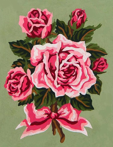 Needlepoint Canvas 14x18cm Pink Rose Bouquet