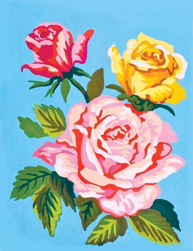Needlepoint Canvas 14x18cm Pink and Yellow Roses