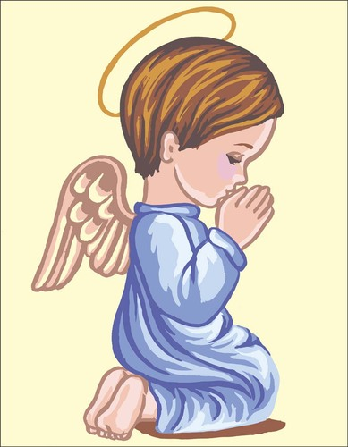 Needlepoint Canvas 14x18cm Angel Boy Praying Silhouette