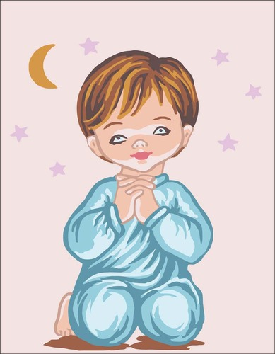 Needlepoint Canvas 14x18cm Angle Boy Praying with Moon & Stars
