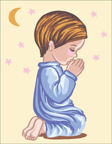 Needlepoint Canvas 14x18cm Angel Boy Praying Silhouette with Moon & Stars