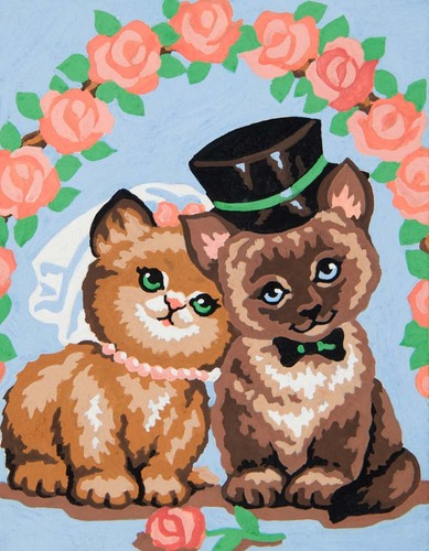 Needlepoint Canvas 14x18cm Wedding Cats