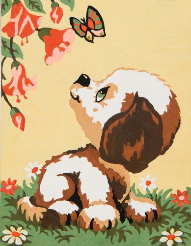 Needlepoint Canvas 14x18cm Puppy & Butterfly