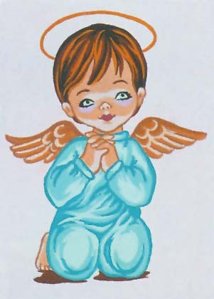 Needlepoint Canvas 22x30cm Angel Boy Praying