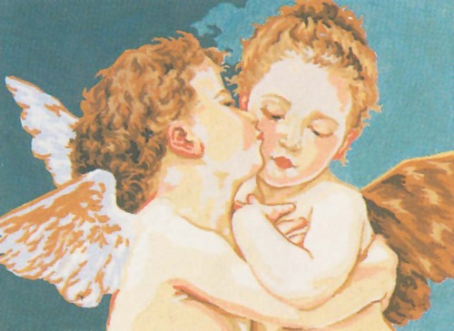 Needlepoint Canvas 22x30cm Cherubs Kissing