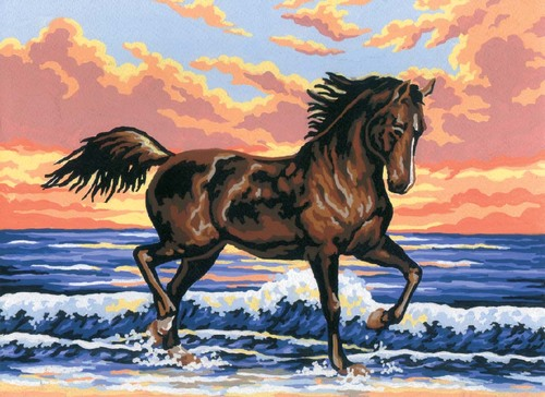 Needlepoint Canvas 22x30cm Horse in the Waves