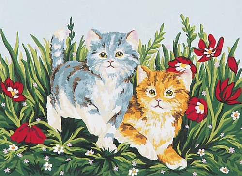 Needlepoint Canvas 22x30cm Playful Kittens
