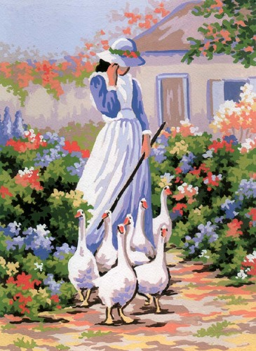 Needlepoint Canvas 22x30cm Goose Girl