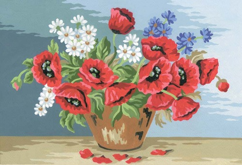 Needlepoint Canvas 22x30cm Poppy Bouquet